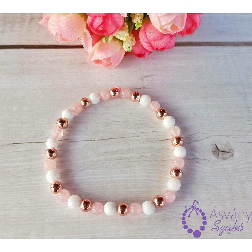 Rózsakvarc, jáde és rosegold hematit karkötő
