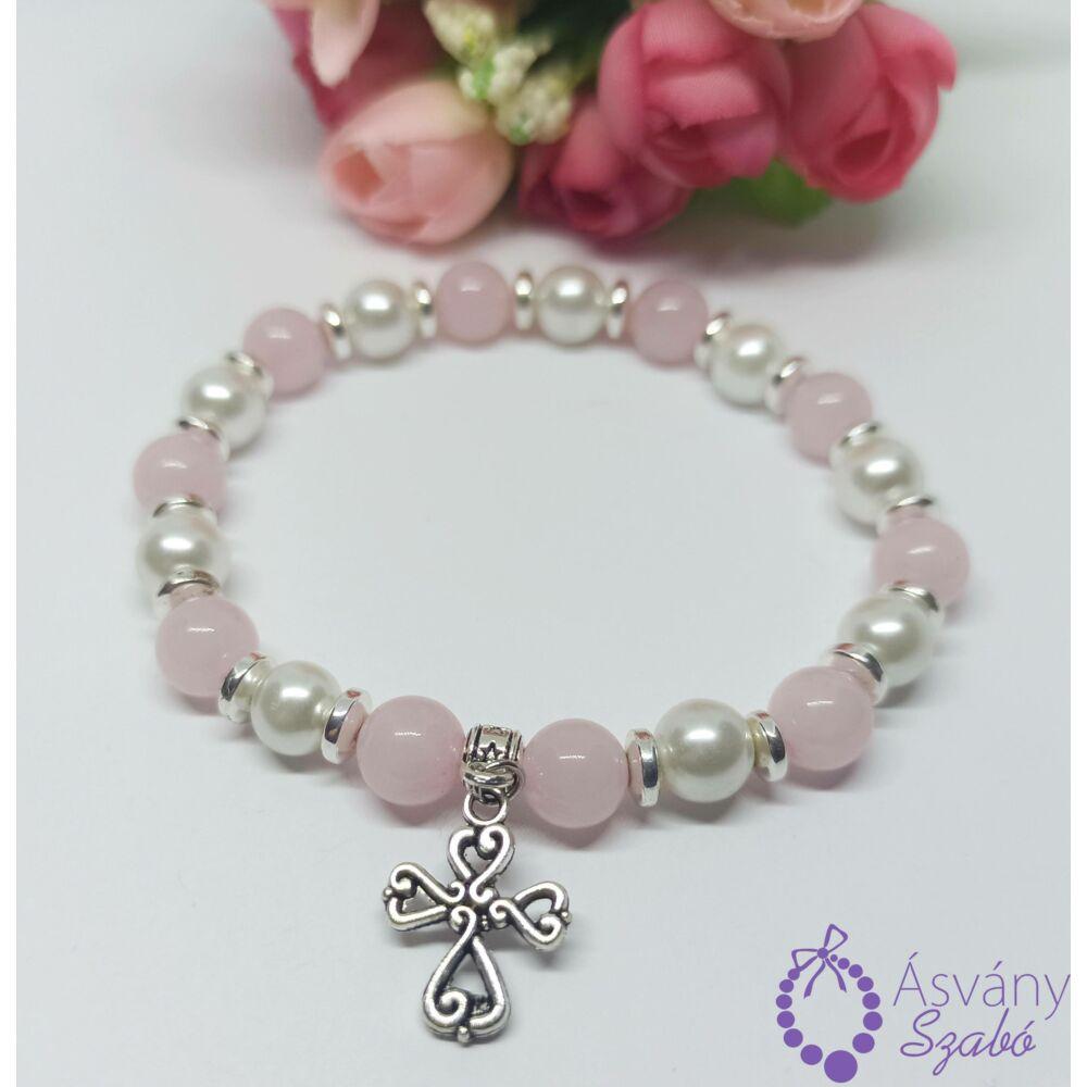 Rózsakvarc, ezüst hematit és tekla gyöngy karkötő