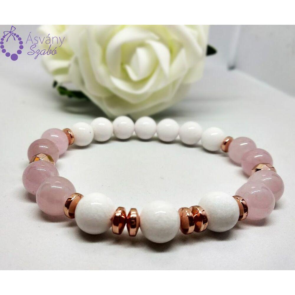 Rosegold hematit, jáde, rózsakvarc karkötő