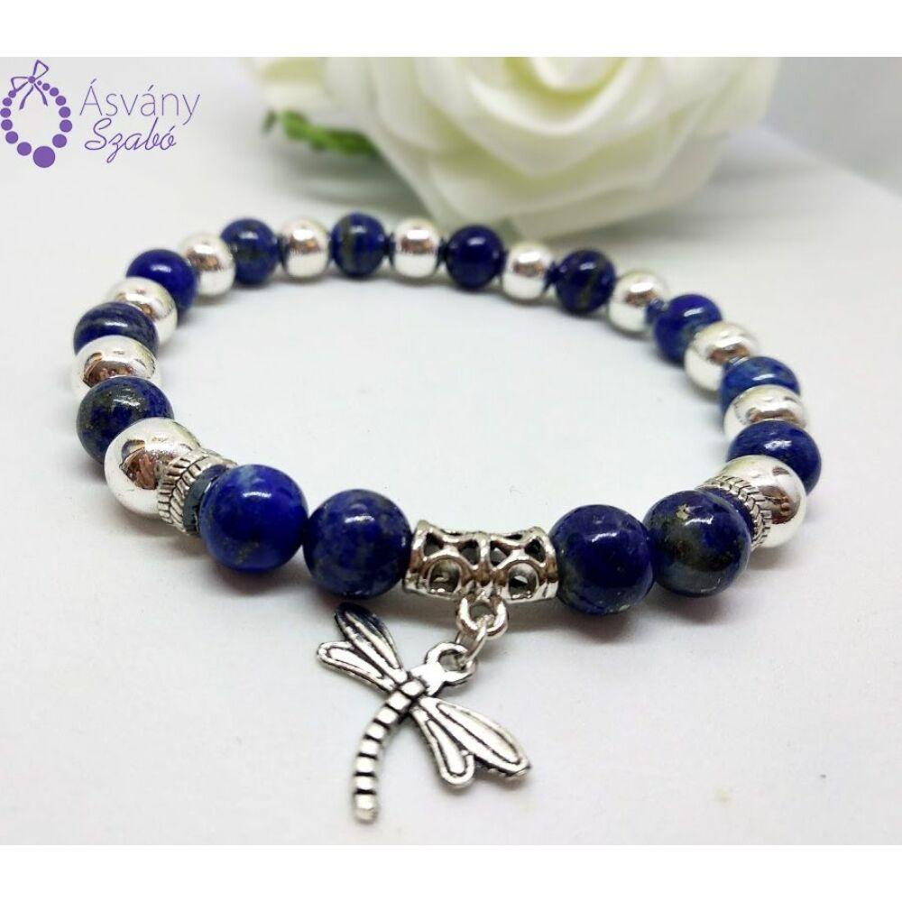 Ezüst hematit és lápisz lazuli (lazurit) karkötő