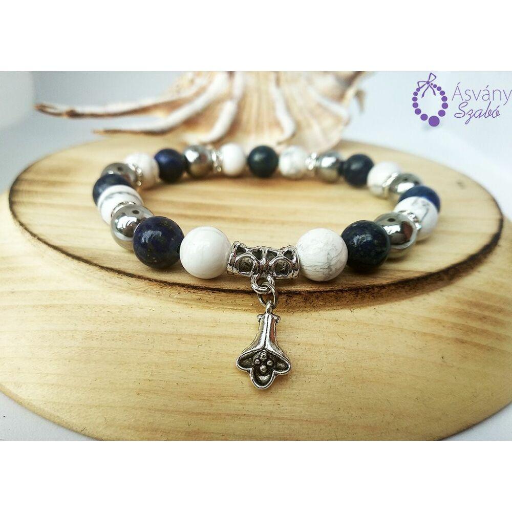 Ezüst hematit, howlit és lápisz lazuli karkötő