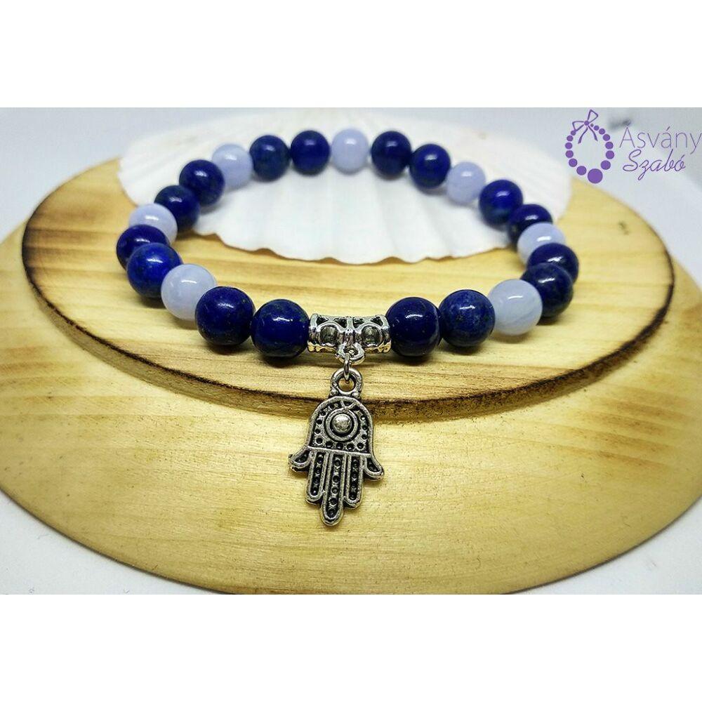 Kalcedon és lápisz lazuli karkötő hamsa kéz medállal
