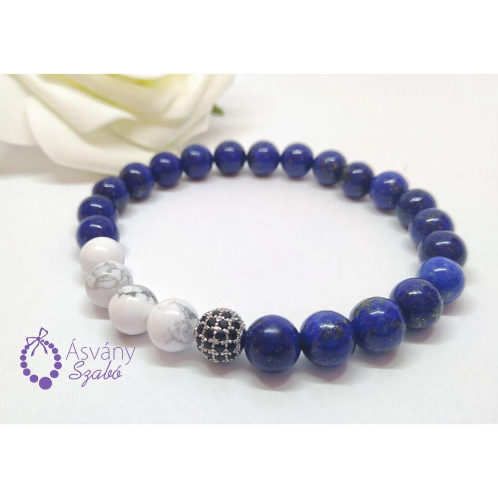 Lápisz lazuli és howlit cirkon köves karkötő