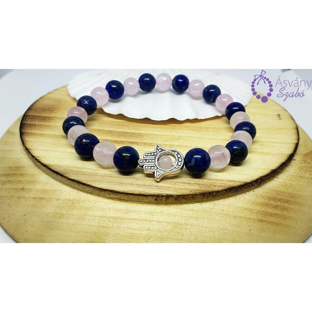 Rózsakvarc és lápisz lazuli karkötő hamsa kéz medállal
