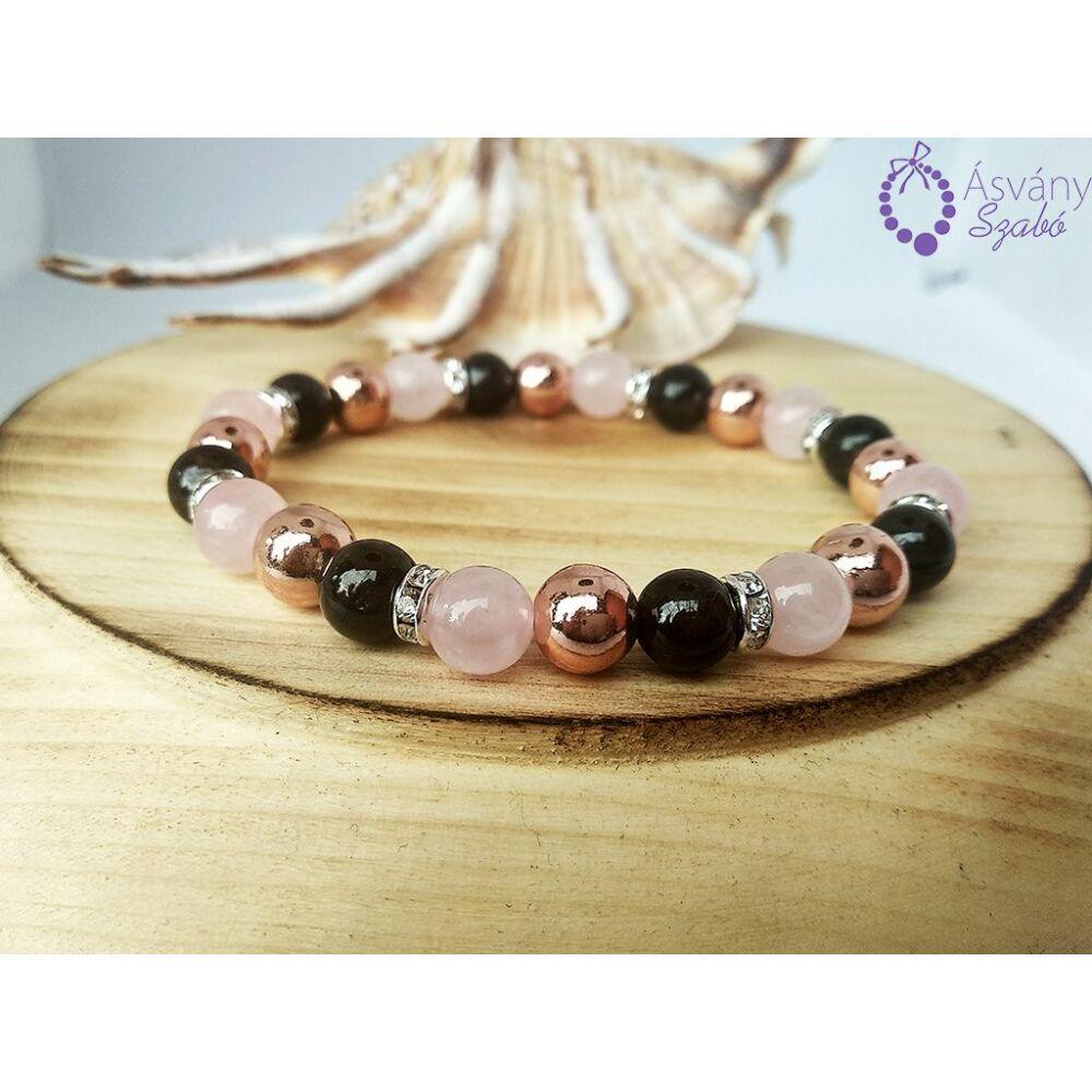 Rosegold hematit, gránát, és rózsakvarc karkötő