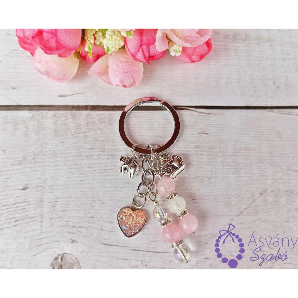 Rózsaszín szives táskadísz/kulcstaró