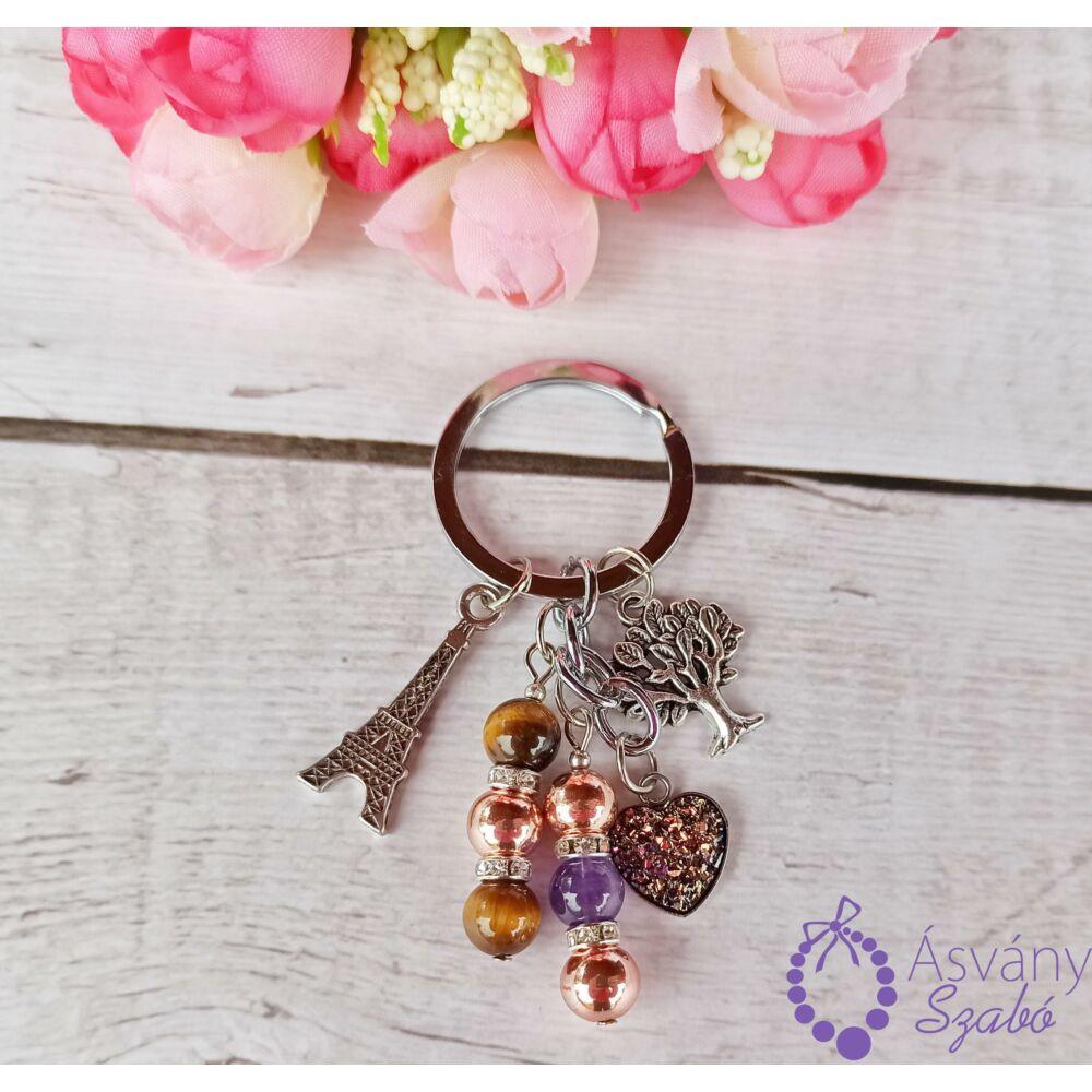 Lilás bronz szives kulcstartó/táskadísz