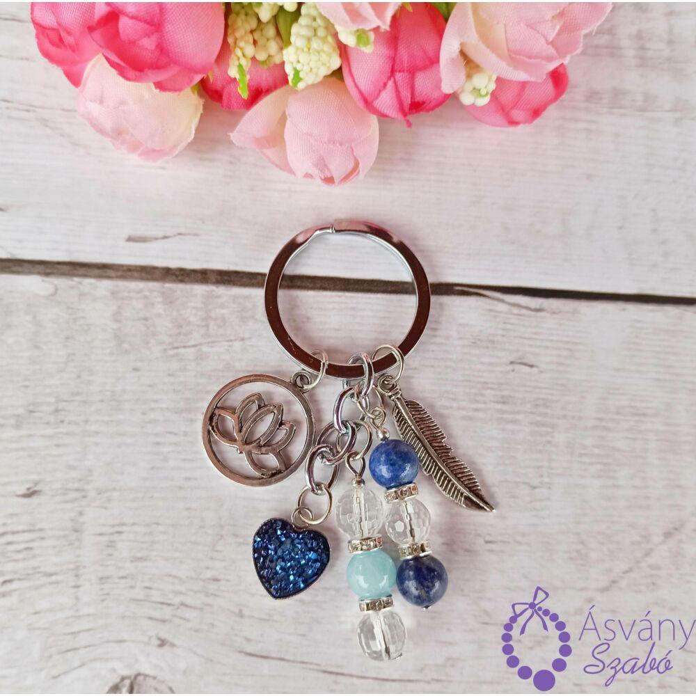 Sötét kék szives kulcstartó/táskadísz