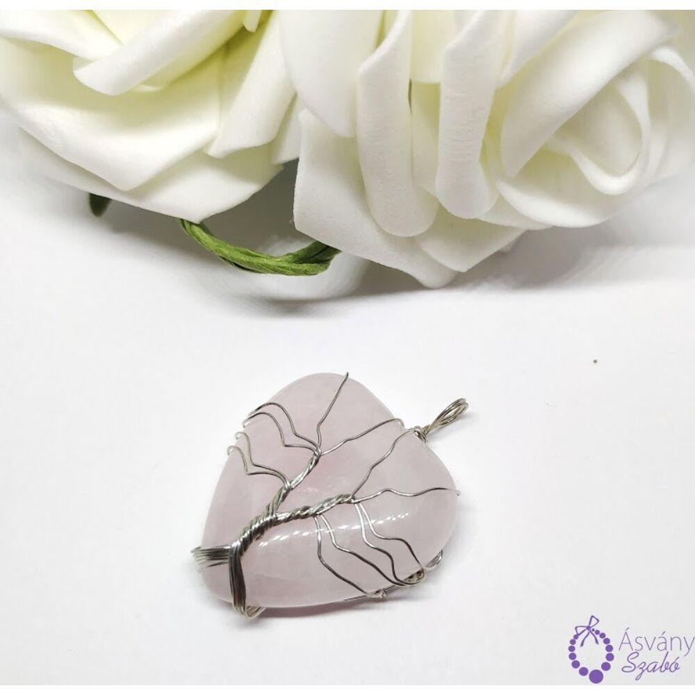 Rózsakvarc életfa szív medál