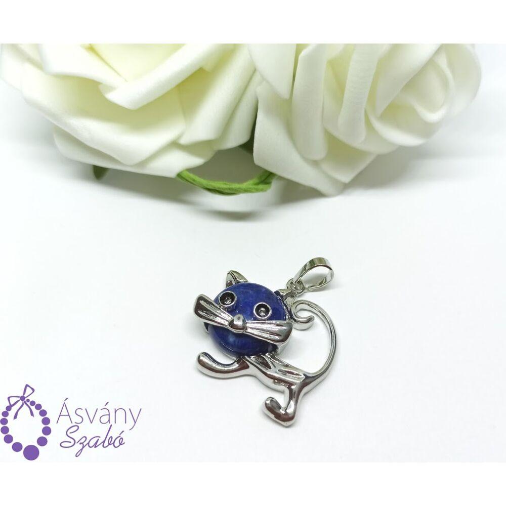 Lápisz lazuli cicás medál