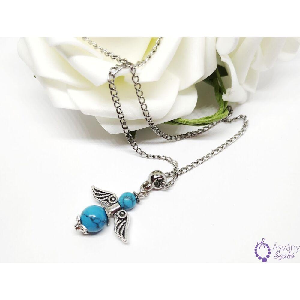 Türkiz angyalkás nyaklánc