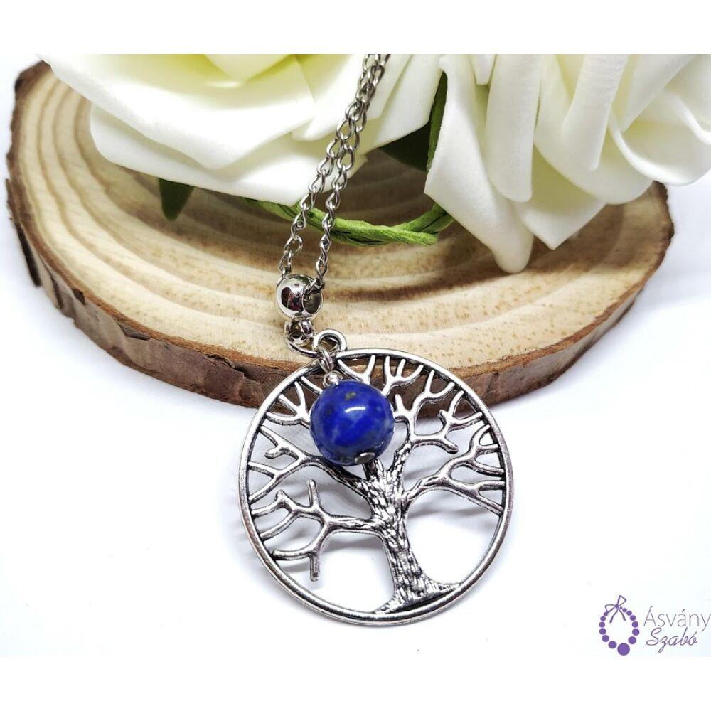 Életfa medálos nyaklác lápisz lazulival