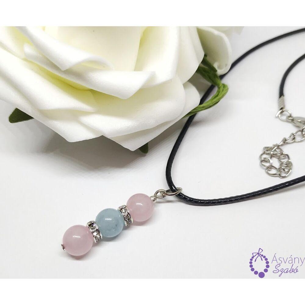 Rózsakvarc és akvamarin medálos nyaklánc