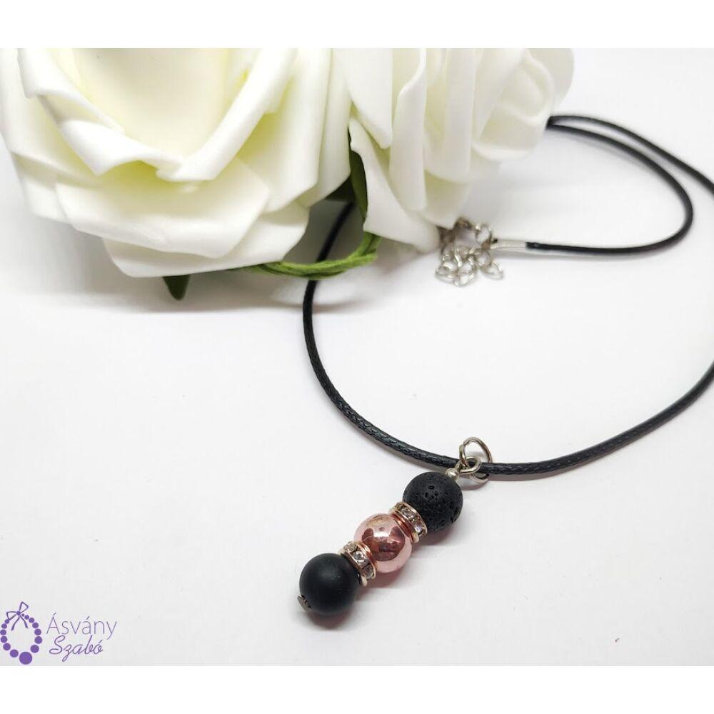 Lávakő, matt ónix és rosegold hematit medálos nyaklánc