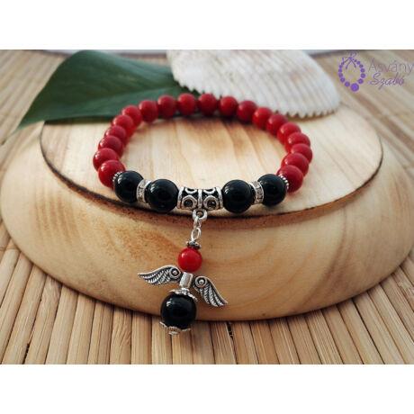 b0e4800188 Vörös korall és ónix angyalkás karkötő - Női karkötők